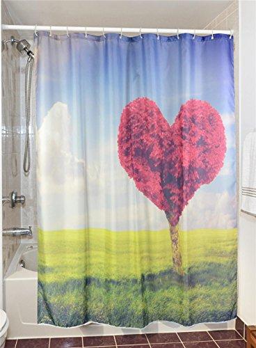 GYMNLJY Liebe Baum 3D Printing Polyester Duschvorhang Dicke wasserdichte Blackout Bad Dusche Rollo für Bad , 180x200
