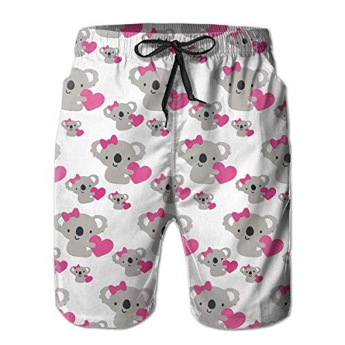 geckor Love Cute Koala Bear - Pantalones Cortos para Nadar, Grandes y Altos, para Hombres Ropa básica de Playa con Bolsillos M