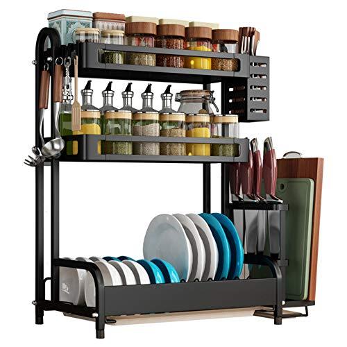 Especiero Cocina estante especias Desmontables Soporte Spice Rack Estante para la Cocina Escurridor platos Fácil Instalar con 4 pies fijos 4 ganchos para Almacenamiento Cocina Superficie,B