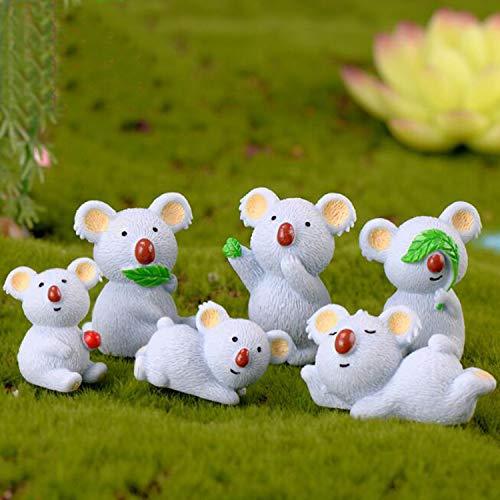 Ruzucoda Miniature Koala Bear Figure Animal Toys Fairy Garden Party Decorations 6 PCS -  Smilesky, B050