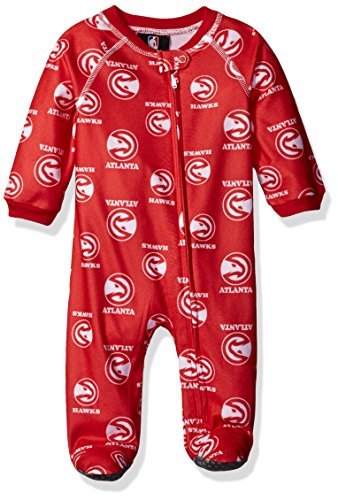 NBA Infant Hawks Sleepwear All Over Print Zip Up Coverall, 24 Months, Red