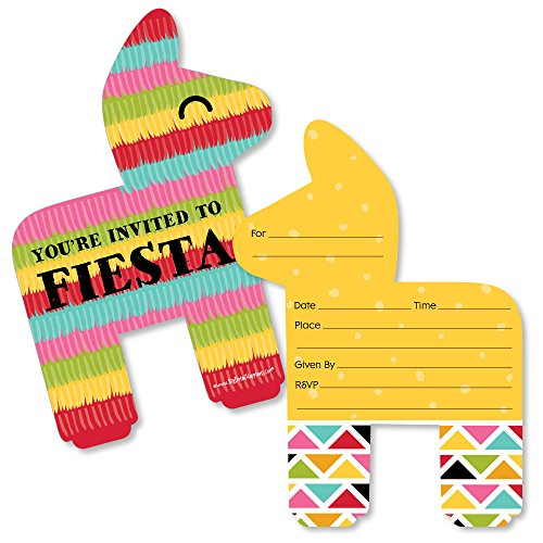 Let's Fiesta - Shaped Fill-in Invitations - Mexican Fiesta Invitation Cards with Envelopes - Set of 12