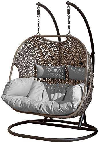SunTime Brampton Luxury Rattan Wicker Outdoor Hanging Cocoon Egg Swing Chair with Grey Cushions and Cover (Double)