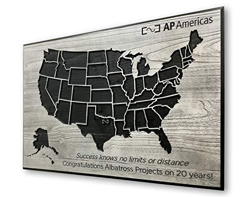 Ced454sy Verenigde Staten Map Business Sign kan locaties push pin vriendelijk met zakelijke logo bedrijf corporate lobby kunst hout muur kunst markeren