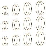 NACTECH 12 Pares (24pz) Pendientes de Aro Grandes 50 60 70 80 mm Piercing de Oreja Redondos Chapados en Oro Pendientes de Acero Inoxidable...