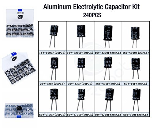 Amazon.es- Electrolytic capacitors kit box 240 pcs 50 values 1uF-470uF