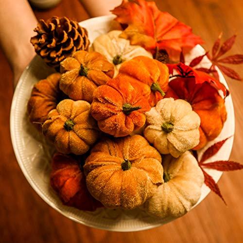 simpdecor zucche Artificiali 12PCS finte Piccole zucche di Velluto Artificiale per la Decorazione di Halloween, Autunno e Festa del Ringraziamento