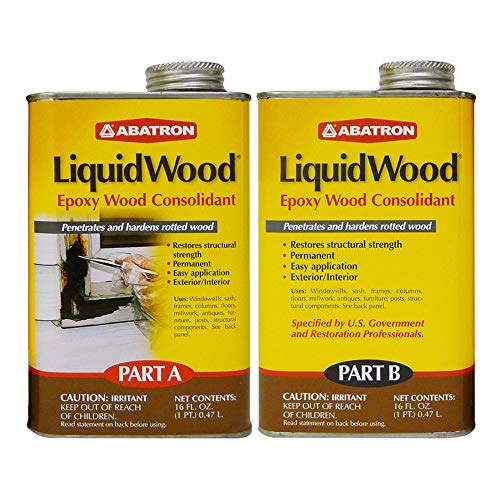 Abatron LiquidWood 2 Pint Kit – 2-Part Structural Epoxy Wood Hardener and Consolidant Resin.