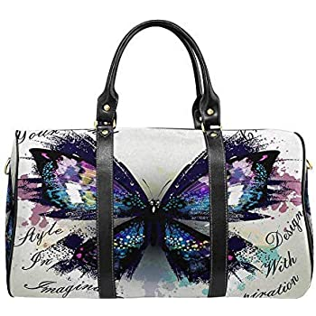 InterestPrint Unisex Duffel Bag Carry-on Bag Overnight Bag Weekender Bag Purple Tiny Floral