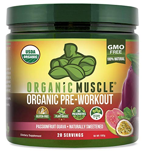 Organic Muscle Pre Workout Powder | USDA Certified Organic | For Energy, Focus & Endurance | Passionfruit Guava | 20 Servings