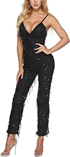 Aro Lora Women's Sexy V Neck Sequin Mesh Bodycon Long Pants Party Jumpsuits Rompers