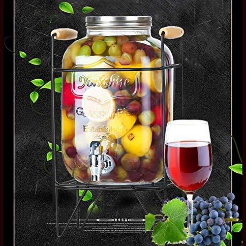 Barril de Vino de Madera Barril de Vino, galón Cada Vaso Dispensadores de Bebidas, con Soporte de Metal, Transparente, envejece su Propio Whisky, cerv