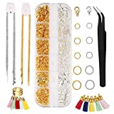 Juego de 736 piezas joyería, accesorios para manualidades, herramientas reparación joyas con 2 anillos curvatura colores, cierres, pinzas y otras DIY principiantes, collar hacer
