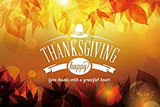 Baocicco 7x5ft Polyester Happy Thanksgiving Day Backdrop Give Thanks with a Grateful Heart Banner Yellow Fall Leaves Photography Background Romantic Autumn Party Thanks Party Photo Booth Prop