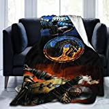 HEVANE Mor-tal KOM-bat Dragon Sub-Zero & Scorpion Flannel Blankets and Throws for Men Women 80 X 60 in All Season Queen Size Warm Microplush Lightweight Fleece Blankets for Home Couch Bed Sofa Dorm
