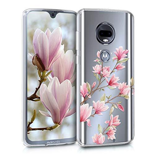 kwmobile Hülle kompatibel mit Motorola Moto G7 / Moto G7 Plus - Handyhülle - Handy Hülle Magnolien Rosa Weiß Transparent