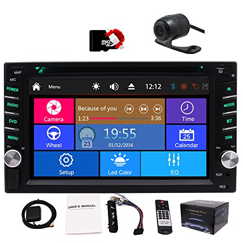 Double Din Car DVD Player 6.2 Inch Touch Screen Car Stereo 2 Din Car GPS Radio in-Dash Audio Head Unit AM/FM/RDS Bluetooth USB SD SWC with 8GB Map Card&Remote Control&Backup Camera