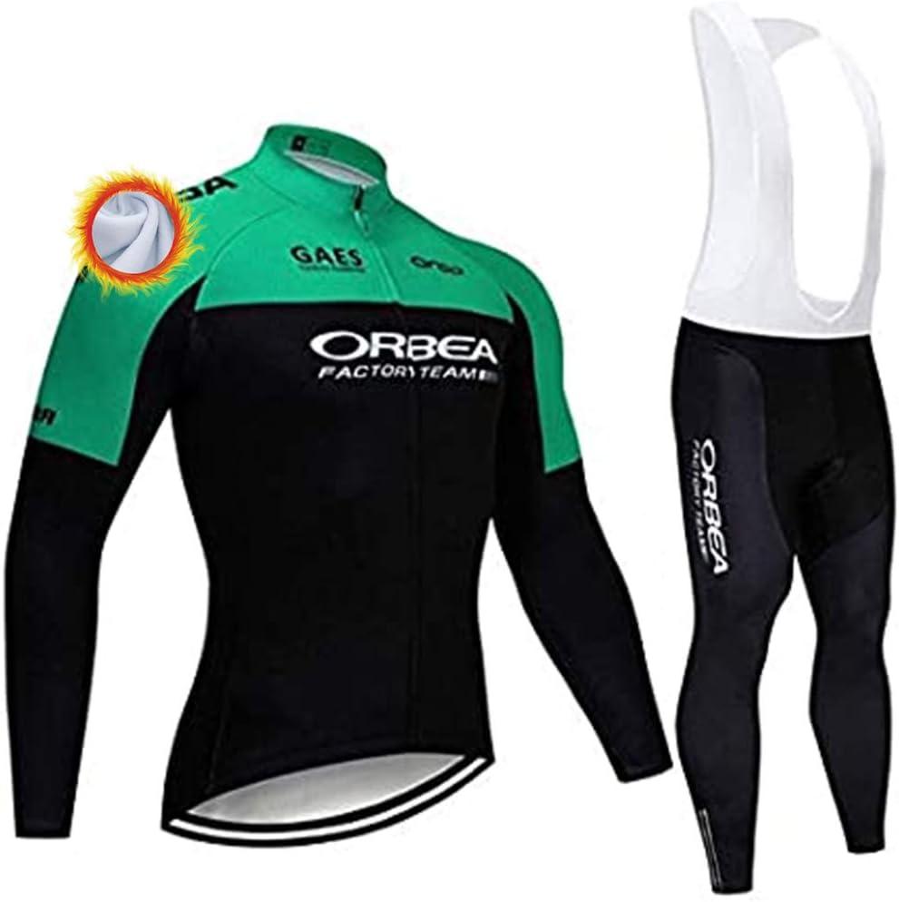 Completo Ciclismo Uomo Abbigliamento Ciclismo Invernale Manica Lunga con Pantaloni Ciclismo Salopette Termica Maglia Zip Uomo MTB per MTB Ciclista