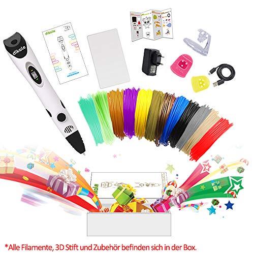 3D Stift Set für Kinder mit PLA Filament 12 Farben -【Neueste Version 2018】3D Stifte mit PLA Farben 120 Fuß und 250 Schablonen eBook, Dikale 07A 3D Pen als kreatives Geschenk für Erwachsene, Bastler zu kritzeleien, basteln, malen und 3D drücken - 4