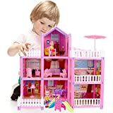 162 Pieces Doll House Building Toys Figure Kit Including 2 Dolls, Furniture, 7 Rooms and Doll Accessories for Girls Pretend Play