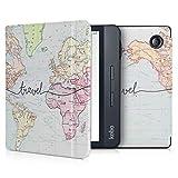 kwmobile Carcasa Compatible con Kobo Libra H2O - Funda para Libro electrónico con Solapa - Mapa Mundial