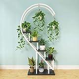 Estante de metal en forma de corazón para plantas, escalera de 5 niveles, estante creativo para macetas, multifuncional para el hogar, patio, césped, jardín, balcón, blanco y negro 24x12x60 (60x30x15