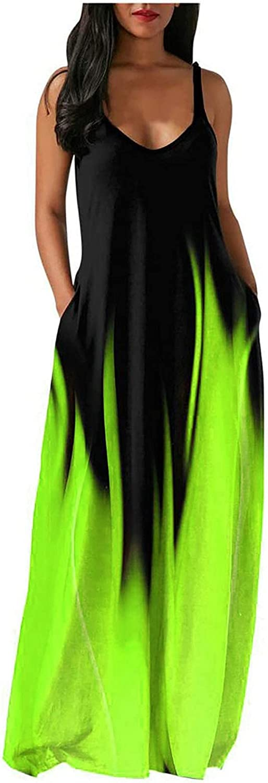 Tavorpt Women Dresses Sleeveless Summer Casual Gradient V Neck Tie Dye Spaghetti Strap Pocket Cover Up Long Maxi Dress
