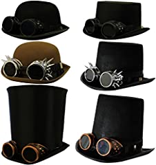 HOW DO YOU DO, GOOD SIR? BRING OUT YOUR INNER VICTORIAN INVENTOR WITH OUR FABULOUS SATIN BELL TOP HAT AND GOGGLES COMBO THAT WILL TAKE YOU BACK IN TIME AND INTO THE FUTURE AT THE SAME TIME. BLACK VICTORIAN SATIN BELL TOP HAT & SILVER SPIKED GOGGLES W...