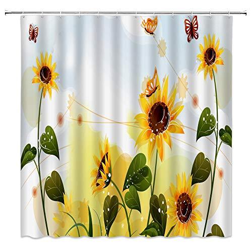 Sonnenblumen-Duschvorhang Schmetterling, gelbe Blumen, Aquarell, Blumen, grüne Blätter, Frühling, bunte Sommerpflanze, Natur, Insekten, Spaßstoff, Badezimmer-Gardinen mit Haken, 178 x 178 cm