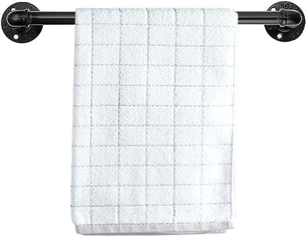 Sumnacon 14 4 Inch Industrial Iron Pipe Towel Rack Holder Heavy Duty Rustic Hand Towel Bar Vintage Style Grab Bar Door Handle For Bathroom Kitchen With Screws Black