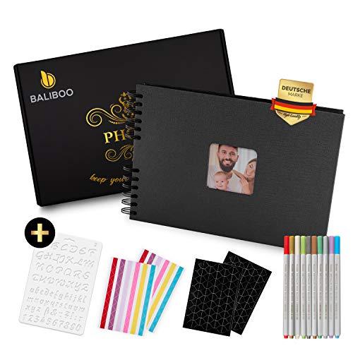BALIBOO Fotoalbum zum Selbstgestalten (29,5 x 21 cm, 80 Seiten), Hochwertiges Fotobuch mit eleganter Verpackung (Schwarz)