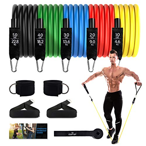 Resistance Bands Set - Exercise Bands Includes 5 Stackable Workout Bands with Door Anchor, Legs Ankle Straps, Black Foam Handles & Carry Bag for Resistance Training, Physical Therapy, Home Workouts