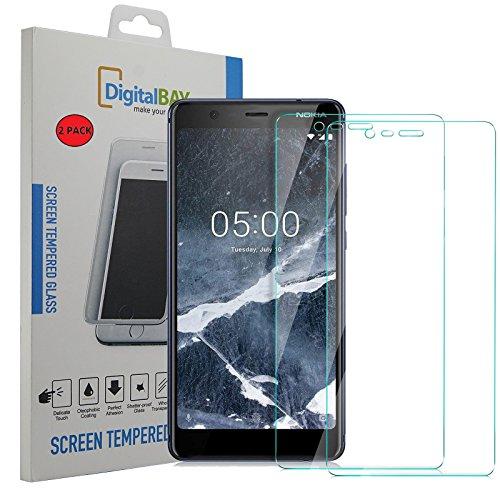 2 Pack Pellicola Vetro Temperato Nokia 5.1 Digital bay Protezione Antigraffi Resistente Pellicola Protettiva Protezione Protettore Glass Screen Protector per Nokia 5.1