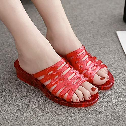 Dames/heren instap sandalen,Doorzichtige antislip moederschoenen, verdikte slipper met hak-rood_38,de sandalen van massagepantoffels,
