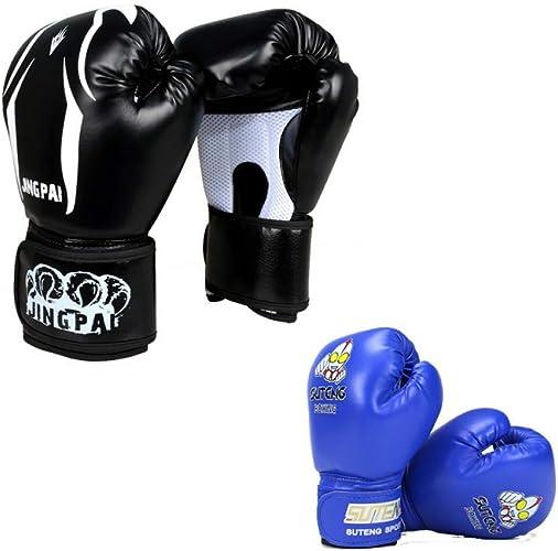 KMCC Gant Boxe Gants De Boxe en Cuir PU Gants De Boxe Hommes Femmes Enfant Muay Thai Formation Sanda Gants