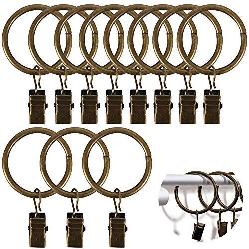 Pulluo 40pcs Gardinenringe mit Clips 32mm Vorhangringe mit Clips Vorhang Ringe Metall Bronze Vorhang Haken Vorhang Clips für Gardinenstange Metallstange
