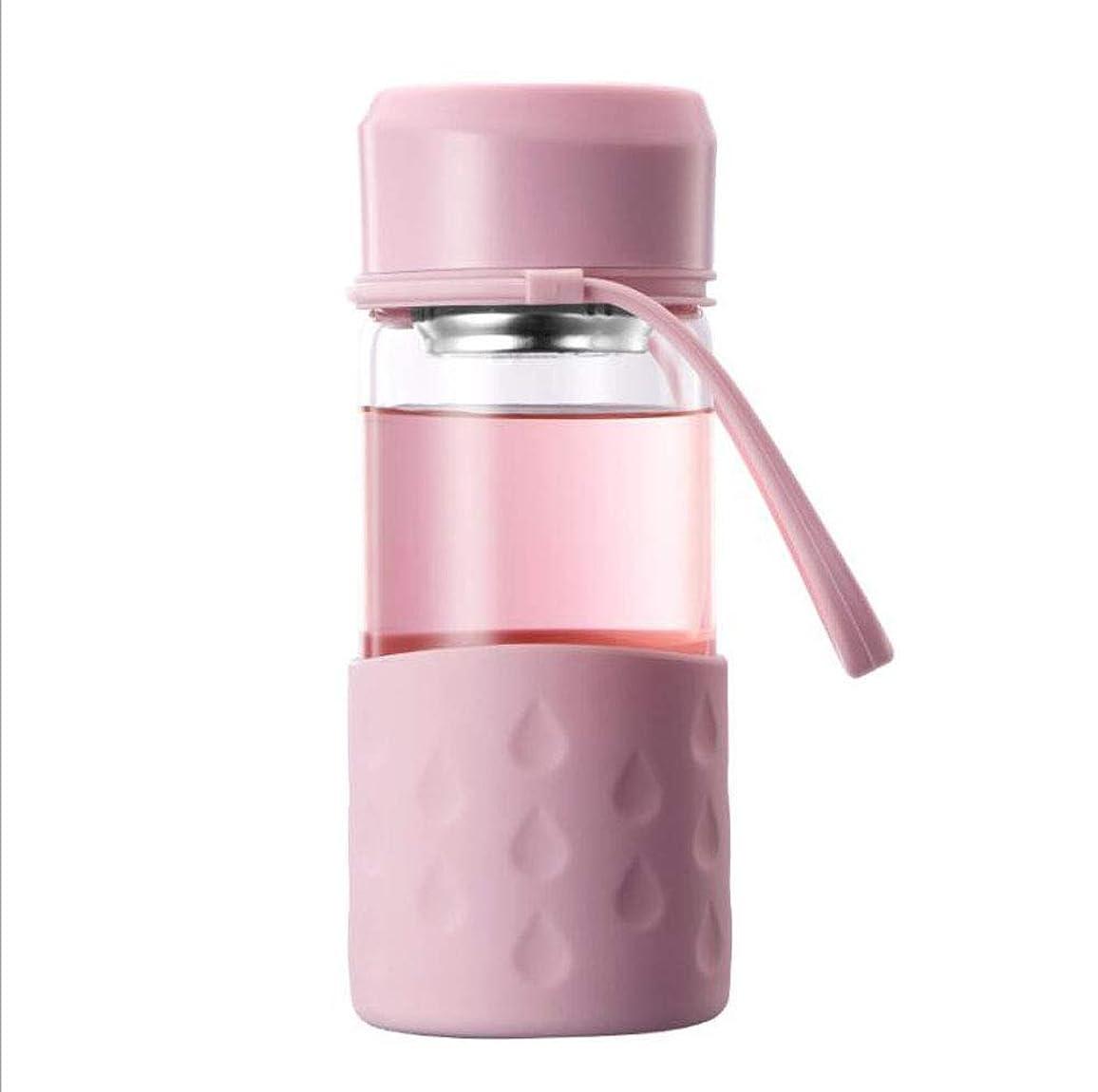 理容師ストラップきつくグラスウォーターボトル360ml取り外し可能ティーストレーナー付高ホウケイ酸二重壁耐熱ウォーターカップ(ピンク)