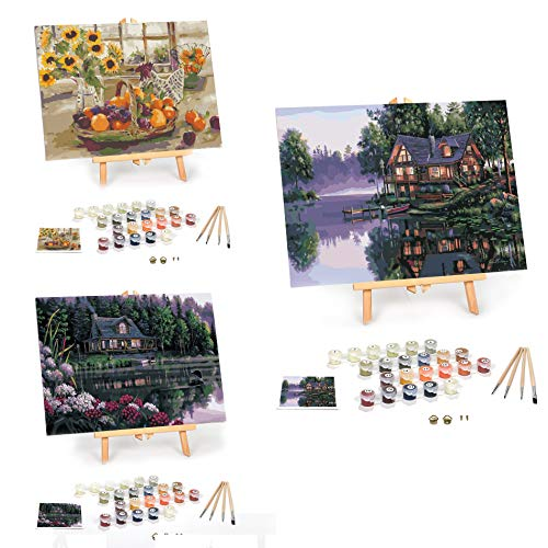 Paint by Numbers for Adults: Beginner to Advanced Number Painting Kit - Fun DIY Adult Arts and Crafts Project - Kit Includes 12' x 16' Framed   Still Waters   Cabin Fever   Country Sunshine