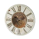 Reloj París Envejecido Vintage marrón de MDF, de ø 60 cm - LOLAhome
