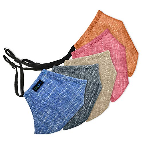 OxiClear Cotton Handloom Linen N95 Anti Pollution Cloth Mask, Reusable (Pack of 5, Multicolour, Without Valve) for Unisex