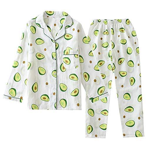 Señoras cómodas Pijamas ConjuntoGasa algodón Dibujos Animados Aguacate Impreso Mujer Ropa de Dormir 2 Piezas Cuello Vuelto Mujer Camisa + Pantalones