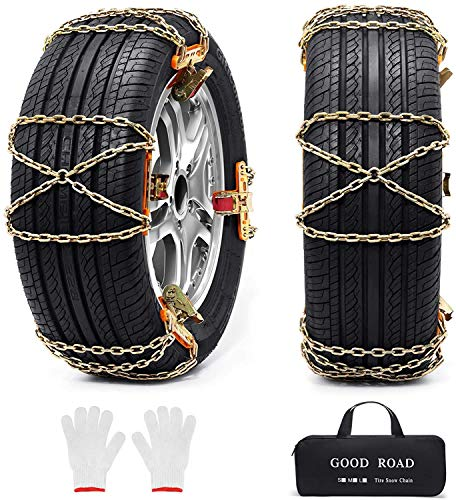 Huttoly 8 Pcs Car Snow Chains Tire Chains for Pickup Trucks SUV Cars...