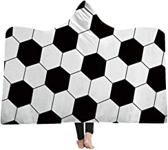 mucloth Kids Oversized Soccer American Football Pattern Hooded Soft Sherpa Blanket Cloak with Hood (White, Kids)