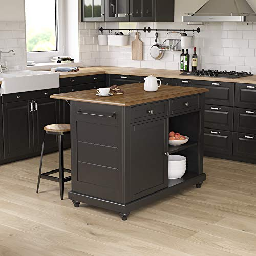 Dorel Living Kelsey 2, Black & Rustic Oak Kitchen Island with Stools, Black