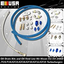 Oil Drain Kits & Oil Feed Line Kit Nissan 240SX S13 S14 T25 T28 Complete Bolt On Water Oil Feed Drain Line Kits