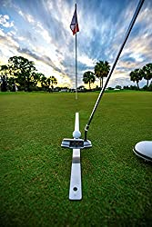 Instructional Video Package Included Helps reduce pushes and pulls! Helps start your putts straight down your target line! Recommended & used by professional golfers QR Code on Product Sleek Steel Design Single Hole for Golf Ball Placement