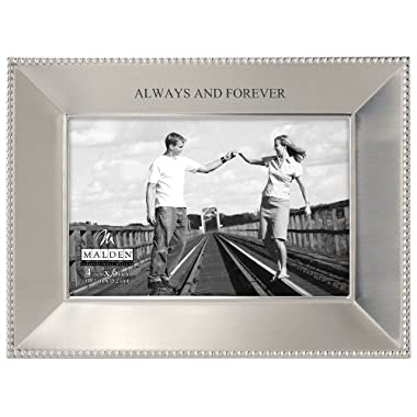 Malden International Designs Simply Stated Always and Forever Shiny Pewter Picture Frame, 4x6, Silver