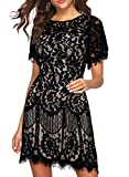Wedding Dress for Lace Woman Elegant Round Neck Short Sleeve V-Back Floral Lace Cocktail Party Dress 910 (Black White, XXL)