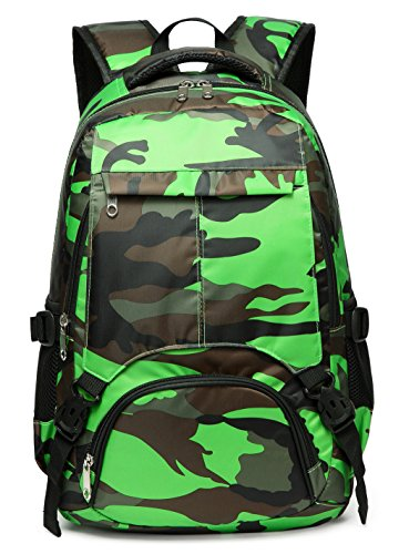 Boys School Bags for Kids Girls Bookbags Camo Print Backpack for Children (Camouflage Green)