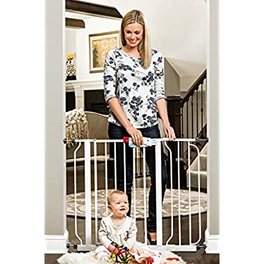 Regalo Easy Step Walk Thru Gate, White, Fits Spaces between 29  to 39  Wide